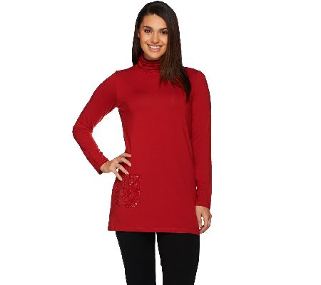 Joan Rivers Jersey Knit Turtleneck Tunic with Sequin Pocket - A268150