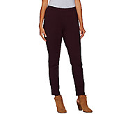 H by Halston Ponte Knit Pull-On Slim Ankle Pants - A269550