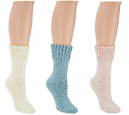 CASA Set of 3 House Socks w/ Non-Skid Snowflakes - A269950