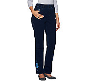 Quacker Factory DreamJeannes Snowflake Straight Leg Pants - A270650