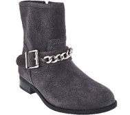Vionic Orthotic Suede Ankle Boots w/ Chain - Crescent