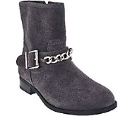 Vionic Orthotic Suede Ankle Boots w/ Chain - Crescent - A272050