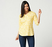 Denim & Co. Printed 3/4 Sleeve V-neck Top - A274350