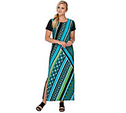 Bob Mackies Short Sleeve Printed Knit Maxi Dress with Side Slits - A276150