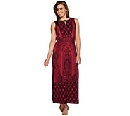 Isaac Mizrahi Live! Petite Engineered Paisley Print Maxi Dress - A278250