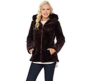 Susan Graver Faux Fur Zip Front Jacket with Trimmed Hood - A283650