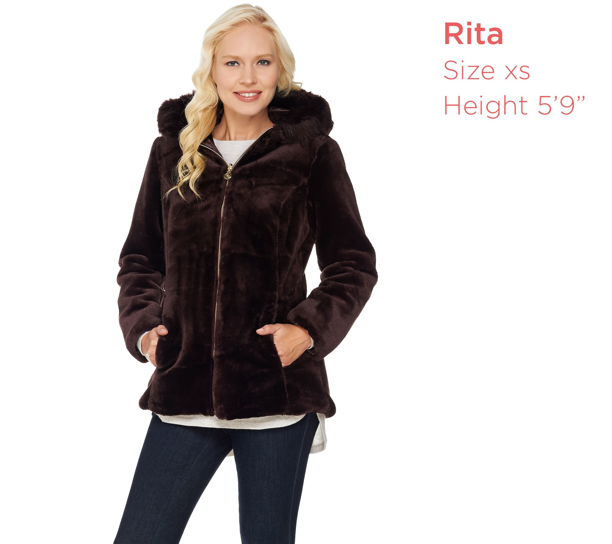 Susan Graver Faux Fur Zip Front Jacket with Trimmed Hood - Page 1 ...
