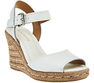 As Is Marc Fisher Leather Peep-toe Espadrille Wedges -Maiseey - A283850