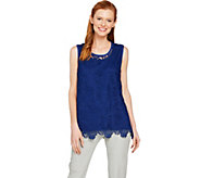 Isaac Mizrahi Live! Floral Lace Tank Top with Scallop Hem - A289650