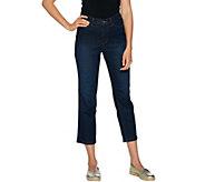 Denim & Co. 5 Pocket Distressed Crop Jeans - A290550