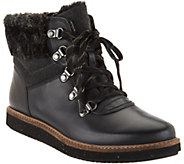As Is Clarks Artisan Leather Lace-up Boots w/ Faux Fur - Glick Claremont - A294450
