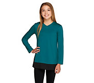 As Is LOGO Littles by Lori Goldstein Knit Top w/ Panels & Side Godets - A294750