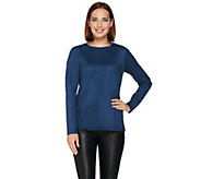 As Is Joan Rivers Wardrobe Builders Faux Suede Round Neck Top - A295450