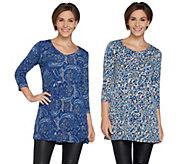 Susan Graver Set of 2 Printed Liquid Knit Tunics - A297150