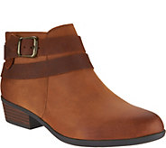 As Is Clarks Leather Side Zip Ankle Boots - Addiy Cora - A306050