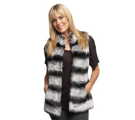 Luxe Rachel Zoe Faux Fur Vest with Hook and Eye Closure