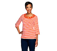 Quacker Factory Striped Rhinestone Grommet T-shirt - A213151