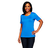 Susan Graver Essentials Butterknit Short Sleeve Scoop Neck Top - A213551