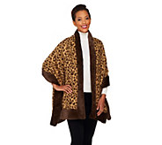 Dennis Basso Leopard Print Jacquard Shawl with Faux Fur Trim - A229751