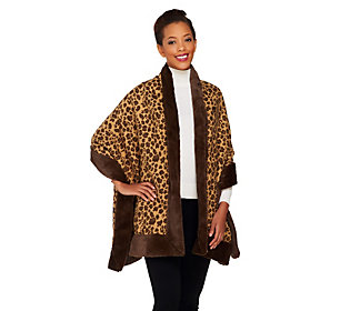 Product image of Dennis Basso Leopard Print Jacquard Shawl with Faux Fur Trim