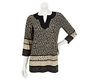 Susan Graver Border Print Liquid Knit Tunic with 3/4 Sleeves - A231251