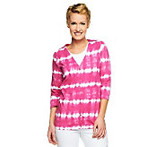 Liz Claiborne New York 3/4 Sleeve Tie Dye Print Cardigan - A231951
