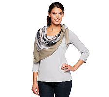 Lisa Rinna Collection Abstract Print w/ Solid Border Square Scarf