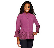 Bob Mackies Button Front Embroidered Edge Shirt - A236151