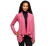 LOGO by Lori Goldstein Draped Throw Cardigan with Stud Detail - A236451