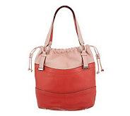 As Is B. Makowsky Pebble Leather Drawstring Shopper - A237351