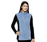 Denim & Co. Active Zip Front Color-block Fleece Vest - A238351