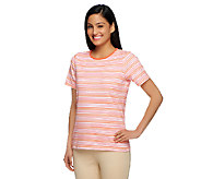 Liz Claiborne New York Crew Neck Striped Print Knit Top - A253251