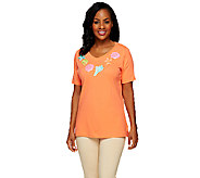 Quacker Factory V-neck Short Sleeve Seashell T-shirt - A254051