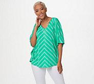 Susan Graver Striped Liquid Knit V-Neck Scarf Top - A254451