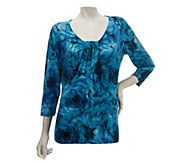 As Is Susan Graver Floral Printed Liquid Knit Scoop Neck Top - A255251