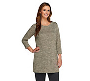 Susan Graver Lightweight Sweater Knit Tunic w/Pleated Scoop Neck - A257951