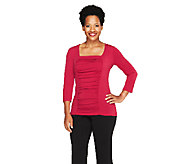 Susan Graver Liquid Knit 3/4 Sleeve Square Neck Top w/Front Ruching - A259551