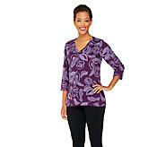 Denim & Co. Heavenly Jersey Printed 3/4 Sleeve Top - A260051