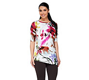George Simonton Elbow Sleeve Printed Knit Tunic with Asymmetric Hem - A262251