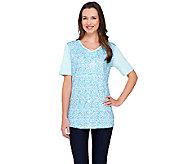 Quacker Factory Sequin Swirl Short Sleeve T-shirt - A263551