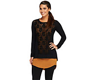 As Is LOGO by Lori Goldstein Lace Front Knit Top with Tank Twin Set - A264151
