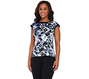 Bob Mackies Abstract Print Boatneck Top with Cap Sleeves - A265051