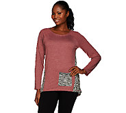 LOGO by Lori Goldstein Boucle Knit Top with Contrast Godet - A266751