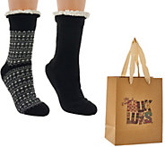 MUK LUKS 2 Pairs Aloe & Faux Sherpa Cabin Socks with Gift Bag - A268651