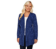 Denim & Co. Marled Drape Front Cardigan with Cable Detail - A269351
