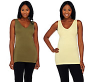 skinnytees V-Neck Seamless Layering Tank Set - A271651