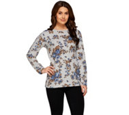 Denim & Co. Active Long Sleeve Rose Printed French Terry