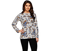 Denim & Co. Active Long Sleeve Rose Printed French Terry Top - A273051