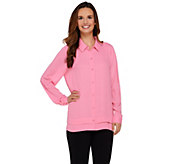 Susan Graver Feather Weave Long Sleeve Button Front Shirt - A273451