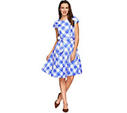 Isaac Mizrahi Live! Gingham Print Dress with Cap Sleeves - A273751